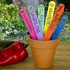 Veggie Garden Plant Stakes -- Stake out the vegetable garden this year with these colorful markers.