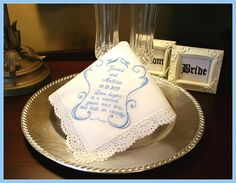 Something Blue Gift for the Bride  Handkerchief for by abbytrey, $19.95