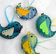 Fabric bird ornaments