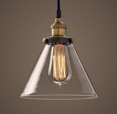 RH's 20th C. Factory Filament Clear Glass Funnel Pendant :Evoking early-20th-century industrial lighting, our reproductions of vintage fixtures retain the classic lines and exposed hardware of the originals. Designed to showcase the warmth of Edison-style filament bulbs.