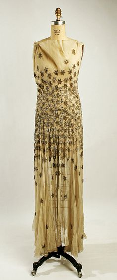 1930-1931 silk evening dress with glass and metal stars by Madeleine Vionnet, France. (Gift to MMA by Madame Madeleine Vionnet in 1952.)