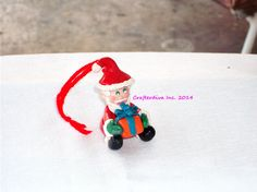 Christmas Ornament Polymer Clay Ornament Santa by Crafterdivaqueen