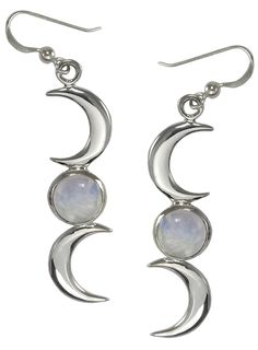 Sterling Silver Crescent Moon Phase Earrings with Rainbow Moonstone <3