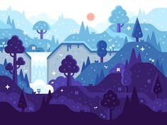 Magic Forest wallpaper and illustration by Alex Pasquarella Forest Illustration, Flat Illustration, Graphic Design Illustration, Website Illustration, Vector Design, Vector Art, Vector Graphics, Magic Forest, Dark Forest