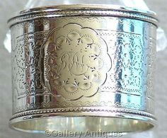 Sold antique Victorian 925 Solid Sterling Silver Floral Chased Napkin Ring by Martin, Hall and Co, Hallmarked for Sheffield, 1889 (ref: 3148)