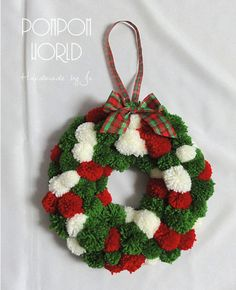 Pompom Christmas wreath Pom pom Holiday by PompomWorldCom on Etsy Christmas Feeling, Christmas Bows, Christmas Makes, Christmas Decorations, Christmas Ornaments, Pom Pom Rug, Pom Pom Wreath, Christmas Projects, Holiday Crafts
