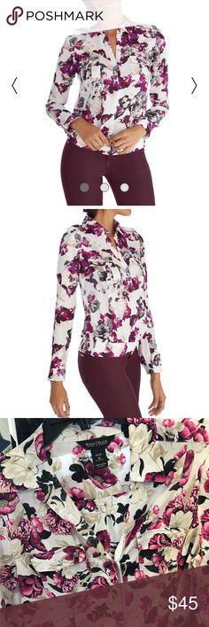 WHBM floral print top size 10 Like new. Out of stock online White House Black Market Tops Button Down Shirts