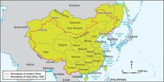 This map shows the location of the Qing Dynasty in green, comparing it to modern day China, which is outlined in red. The Qing Dynasty included areas of places which we now know as separate countries, such as Mongolia, Russia, Japan and Kazakhstan.