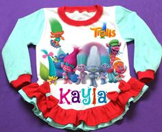 Trolls Personalized Girl Pajama  by FantasyKidsParty on Etsy