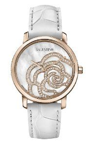 Valentino Women's Rose Gold-Plated Diamond White Crocodile Leather Watch Valentino Watches, Elegant Watches, Trendy Watches, Valentino Women, Rose Jewelry, Pearl Diamond, Diamond Are A Girls Best Friend, Luxury Jewelry, Rose Gold Plates