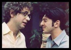 """Gustavo Cerati y Damián De Santo.  Set de filmación película """"+ Bien"""", año 2001."""