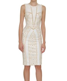 Las Vegas Bride versace - white leather dress w/ gold studs. fierce zipper, running up the entire dress. White Leather Dress, Fashion Forms, Fashion Design, Versace, Fashion Dresses, Travel Outfits, Couture, Gold Studs, My Style