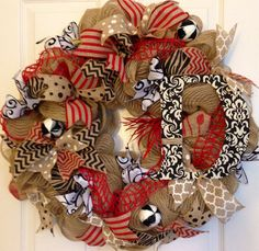 Burlap Summer Monogram Wreath Burlap DecoMesh by PurplePetalDesign, $80.00