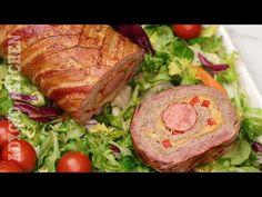 Rulada de carne tocata cu bacon este perfecta pentru sarbatori, ocazii speciale dar si pentru weekend. Este o rulada de carne super gustoasa Bacon, Viera, Salmon Burgers, Turkey, Cooking Recipes, Meat, Ethnic Recipes, Youtube, Pork