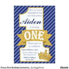 Shop Prince First Birthday Invitation with Envelopes created by PuggyPrints. One Year Birthday, Boy First Birthday, Boy Birthday Parties, Birthday Ideas, Birthday Gifts, Happy Birthday, Birthday Decorations, Prince Birthday Theme, 1st Birthday Invitations