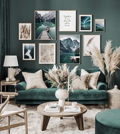 Gallery Wall Inspiration - Shop your Gallery Wall - Posterstore. Interior Design Living Room, Living Room Designs, Living Room Gallery Wall, Gallery Walls, Ikea Interior, Green Interior Design, Interior Design Inspiration, Living Room Green, Living Room Walls