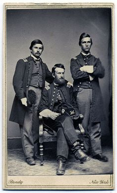 Carte de visite by Mathew Brady of New York, N.Y. Charles Armory Clark (right) served as a captain in the Sixth Maine Infantry, and received the Medal of Honor for his conduct at Brooks Ford, Va., on May 4, 1863. James William Clark (left) served as the first lieutenant of Company E of the First Maine Heavy Artillery. Whiting Clark (center) served as major of the First Maine Heavy Artillery.