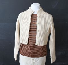 cream ribbed knit cropped cardigan s by cheapopulance on Etsy, $35.00