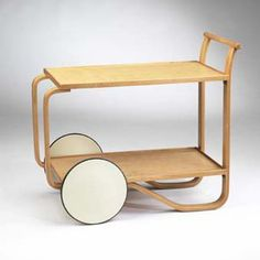 Alvar Aalto,1936, tea trolley cart,   Manufacturer Oy Huonekalu-ja Rakennuslyotehdas AB   Molded laminated birch, rubber  v3u