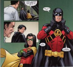 Red Robin (Tim Drake) & the latest Robin (Damian Wayne). 'I'll drive.' Bahaha, Damian, I love you more than I can say.