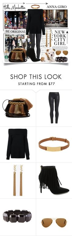 """Hello Manhattan"" by annagiro ❤ liked on Polyvore featuring Sanayi 313, The Row, T By Alexander Wang, Henri Bendel, Yves Saint Laurent, H&M, Pierre Balmain, Saskia Diez and Ray-Ban"