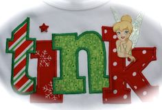 Custom Boutique Girls Disney Vacation CHRISTMAS TINKERBELL Tinker Bell Fairy APPLIQUE Tink Top Shirt