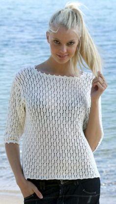 Familie Journal - strikkeopskrifter til hende Crochet Blouse, Knit Crochet, Knitting Patterns, Crochet Patterns, Big Knits, Summer Knitting, Pull, Sweater Cardigan, Free Pattern