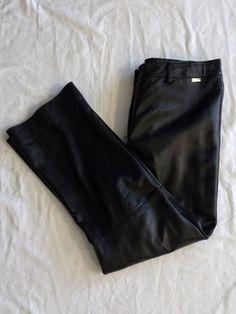 St. John Sport Marie Gray 12 Black Structured Leather Pants Slacks Trousers #StJohnSportMarieGray #TrousersSlacksPants