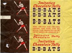 Fair Play - BB Bats Imitation Chocolate Taffy - candy wrapper - 1970's by JasonLiebig, via Flickr