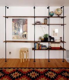 must DIY someday #livingroom #shelves