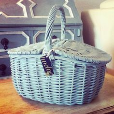 The Wicker Picnic Basket in Duck Egg Blue