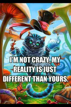 I´m not Crazy. My reality is just diffrent than yours. cheshire cat Alice in wonderland Wallpaper Gatos, Were All Mad Here, Depression Quotes, Depression Art, Im Crazy, Crazy People, Enfp, Introvert, True Stories