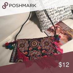 Bohoo style fringe shoulder or crossbody bag Multicolor and looks pretty with everything. Must have for summer. Bags Crossbody Bags