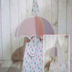 Anna Design - Caixa cone chuva de amor & bênção menina 01 - em scrap