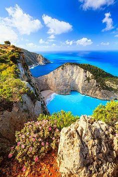 The Blue Ocean, Navagio Bay- Greece. -  Navagio bay - beach in Greece