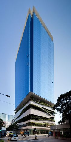 The architects from Aedas designed a building in Hog Kong which includes housing, offices, retail spaces and a car park