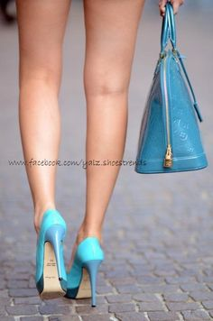 Blue SHOES by Brian Atwood and Louis Vuitton bag