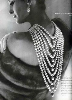 "Vogue 1958 - ""liberty cup"". #pearls #perle"