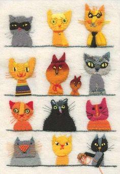 Lots of kitty cats - embroidery and felt Felt Embroidery, Embroidery Stitches, Embroidery Ideas, Fabric Art, Fabric Crafts, Art Et Illustration, Illustrations, Cat Quilt, Felt Cat