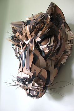 Jaguar Mask - paper art /papercraft by Jacqui Oakley Cardboard Animals, Cardboard Mask, Cardboard Sculpture, Cardboard Crafts, Sculpture Art, Kirigami, Paper Mask, Paper Artwork, Animal Masks
