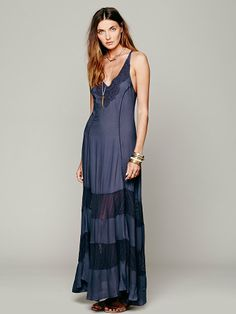 Free People Scallop Chevron Maxi Slip at Free People Clothing Boutique
