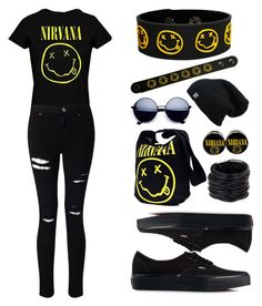 """""""Nirvana!!!"""" by theanonymousme ❤ liked on Polyvore featuring Miss Selfridge, Vans, Saachi, bandtshirt and bandtee"""