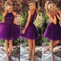 Elegant Beaded Purple Homecoming Dress Short Party Gowns Dresses Cocktail
