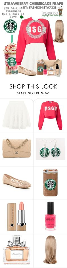 """""""Strawberry Cheesecake Frape"""" by fashionista7331 ❤ liked on Polyvore featuring Blue Vanilla, MSGM, Chanel, ZiGiny, Harry Winston, Marc Jacobs, Color Club, Christian Dior, Lipsy and Bobbi Brown Cosmetics"""