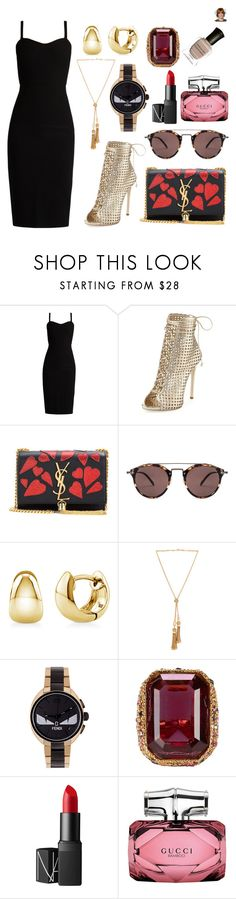 """""""ootd"""" by thebeauty26 ❤ liked on Polyvore featuring MaxMara, Giuseppe Zanotti, Yves Saint Laurent, Oliver Peoples, BERRICLE, Chloé, Fendi, Kenneth Jay Lane, NARS Cosmetics and Gucci"""