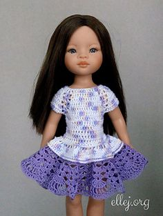 Ravelry: Flared dress for Paola Reina by Elena Kozhukhar Crochet Girls Dress Pattern, Crochet Baby Cardigan, Crochet Doll Dress, Crochet Baby Hats, Knitting Dolls Clothes, Crochet Doll Clothes, Barbie Dress, Barbie Clothes, American Girl Crochet