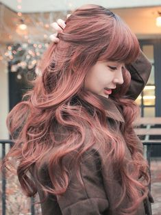 Colored Long Wavy Hair With Blunt Bangs for Asian Hairstyles