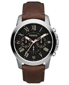 Fossil Watch, Men's Chronograph Grant Brown Leather Strap 44mm FS4813 - Men's Watches - Jewelry & Watches - Macy's