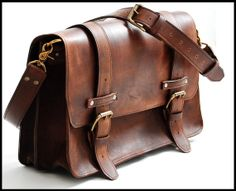 Leather Bag messenger style in Large  Chestnut by sizzlestrapz, $399.98