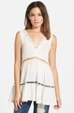 Leith Lace Trim V-Neck Tank available at #Nordstrom